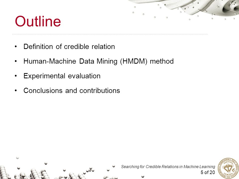 5 of 20 Searching for Credible Relations in Machine Learning Outline Definition of credible relation Human-Machine Data Mining (HMDM) method Experimen