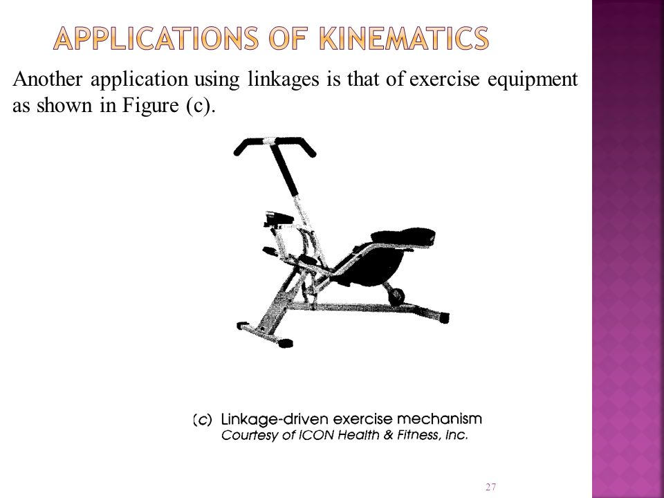 27 Another application using linkages is that of exercise equipment as shown in Figure (c).