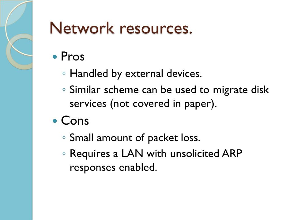 Network resources. Pros Handled by external devices.