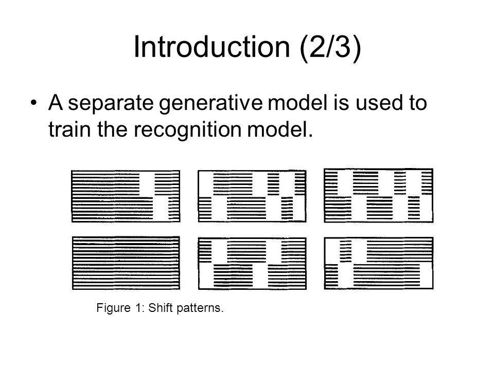 Introduction (2/3) A separate generative model is used to train the recognition model. Figure 1: Shift patterns.