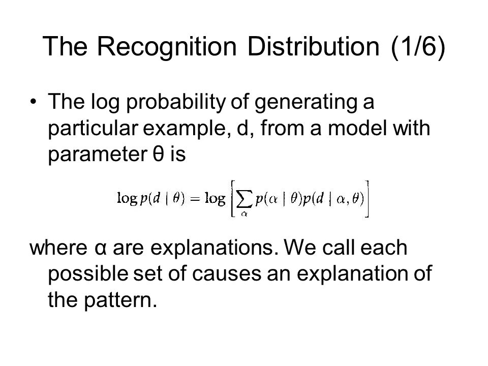 The Recognition Distribution (2/6) We define the energy of explanation α to be The posterior distribution of an explanation given d and θ is