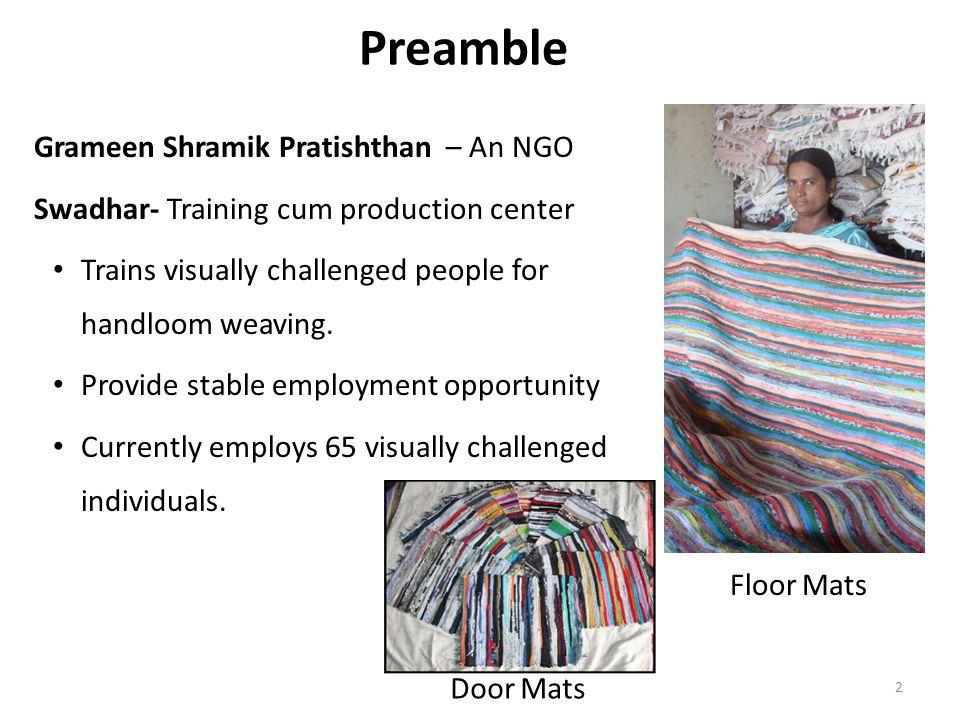 Preamble Grameen Shramik Pratishthan – An NGO Swadhar- Training cum production center Trains visually challenged people for handloom weaving.