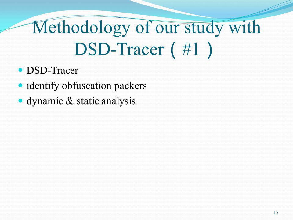 Methodology of our study with DSD-Tracer #1 DSD-Tracer identify obfuscation packers dynamic & static analysis 15