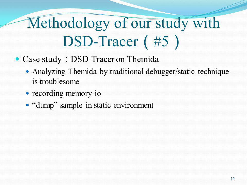 Methodology of our study with DSD-Tracer #5 Case study DSD-Tracer on Themida Analyzing Themida by traditional debugger/static technique is troublesome recording memory-io dump sample in static environment 19