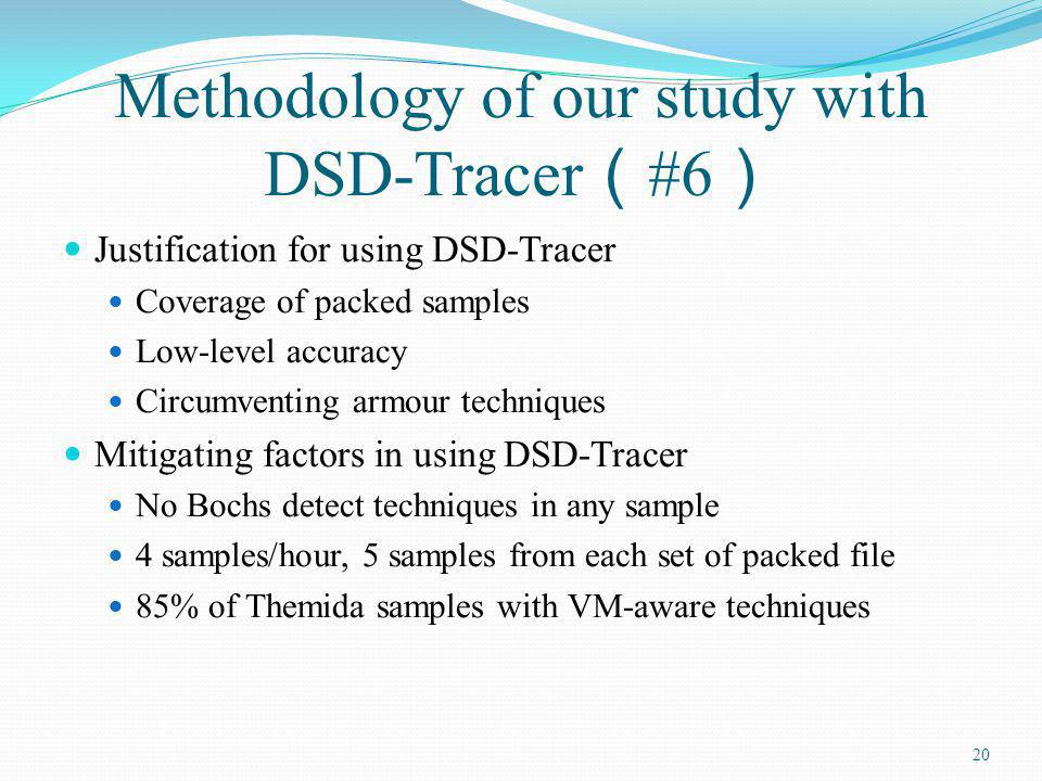 Methodology of our study with DSD-Tracer #6 Justification for using DSD-Tracer Coverage of packed samples Low-level accuracy Circumventing armour tech