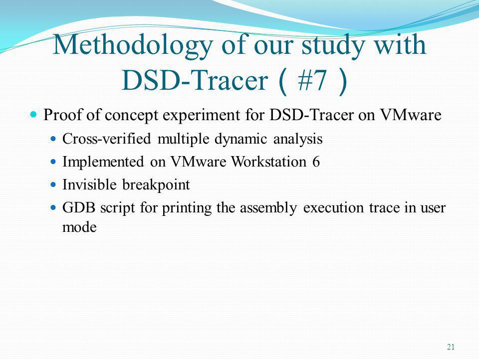 Methodology of our study with DSD-Tracer #7 Proof of concept experiment for DSD-Tracer on VMware Cross-verified multiple dynamic analysis Implemented on VMware Workstation 6 Invisible breakpoint GDB script for printing the assembly execution trace in user mode 21
