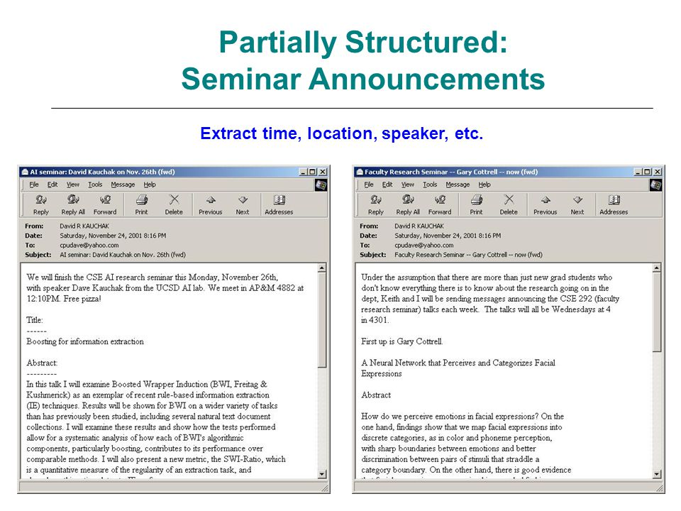 Partially Structured: Seminar Announcements Extract time, location, speaker, etc.