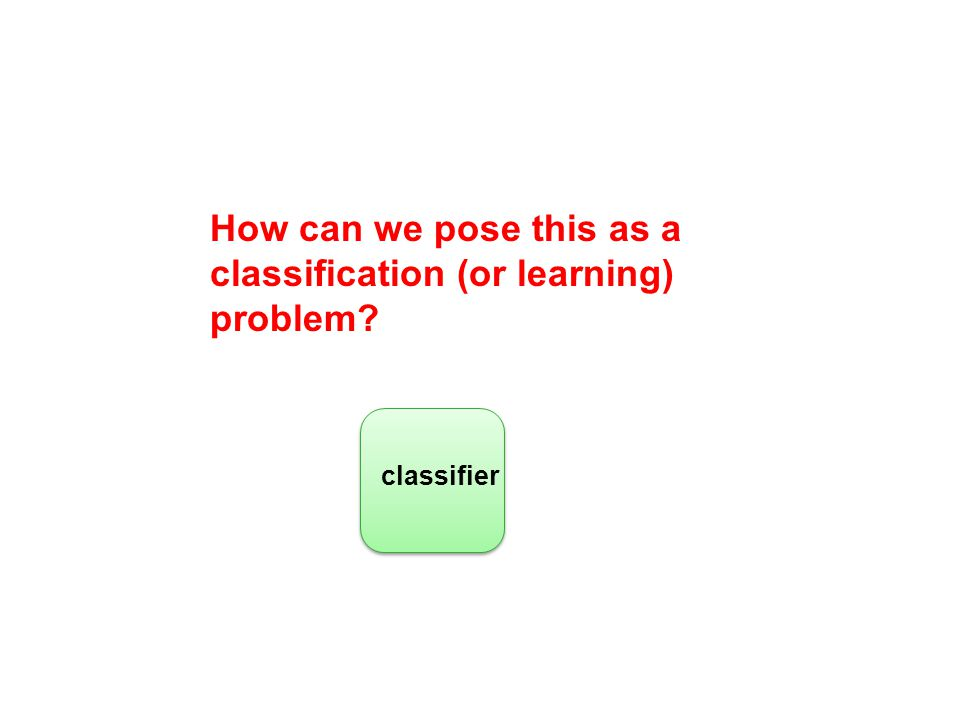 How can we pose this as a classification (or learning) problem? classifier
