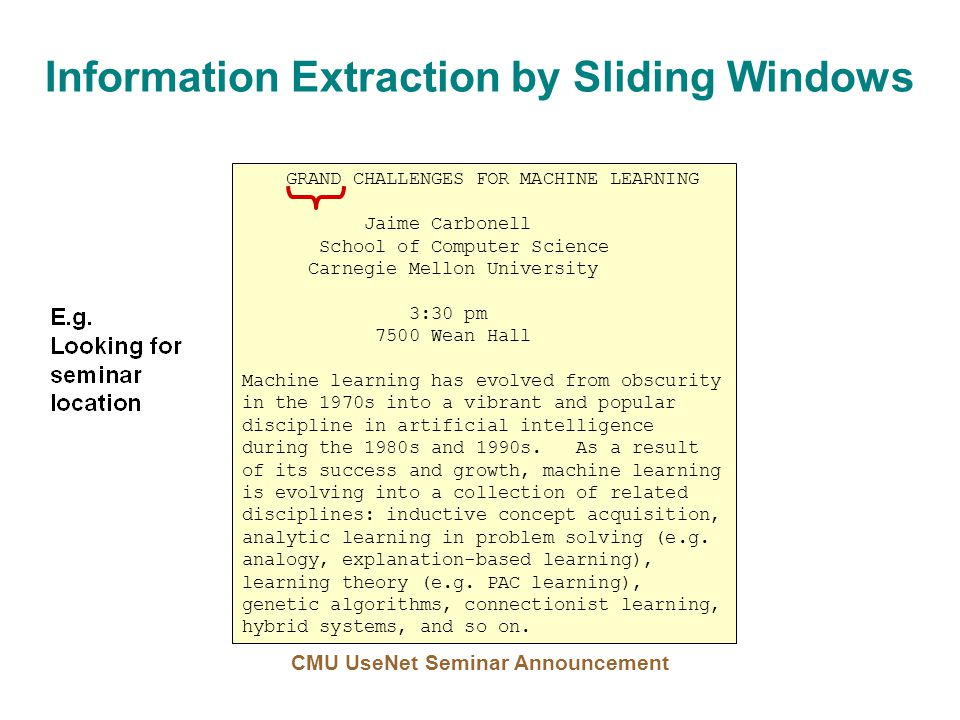 Information Extraction by Sliding Windows GRAND CHALLENGES FOR MACHINE LEARNING Jaime Carbonell School of Computer Science Carnegie Mellon University 3:30 pm 7500 Wean Hall Machine learning has evolved from obscurity in the 1970s into a vibrant and popular discipline in artificial intelligence during the 1980s and 1990s.