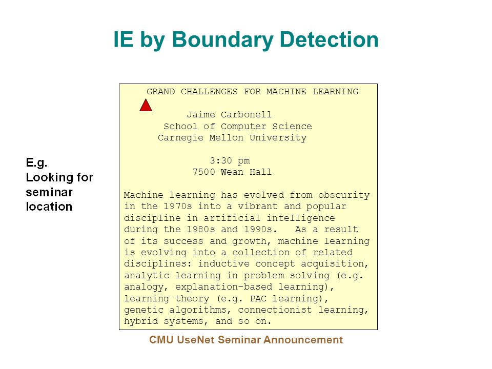 IE by Boundary Detection GRAND CHALLENGES FOR MACHINE LEARNING Jaime Carbonell School of Computer Science Carnegie Mellon University 3:30 pm 7500 Wean Hall Machine learning has evolved from obscurity in the 1970s into a vibrant and popular discipline in artificial intelligence during the 1980s and 1990s.