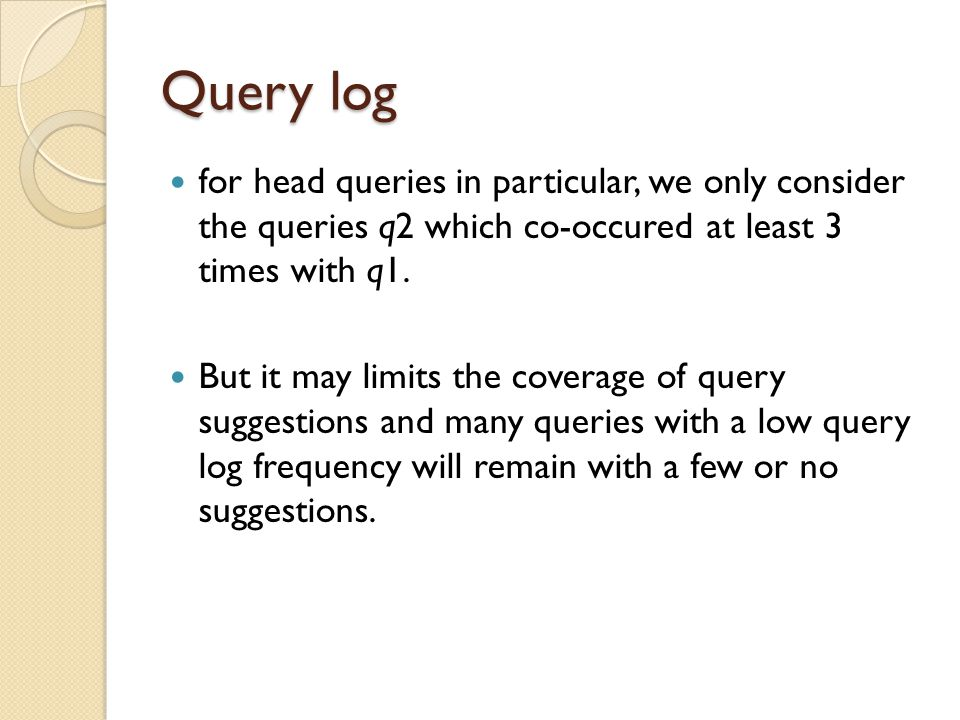 Query log for head queries in particular, we only consider the queries q2 which co-occured at least 3 times with q1.