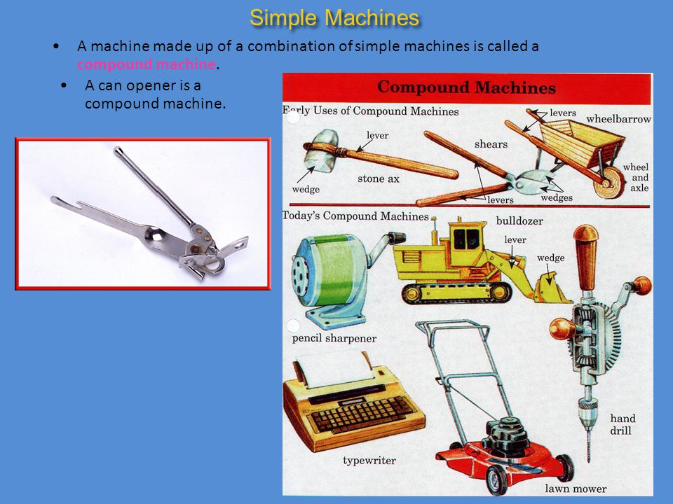 A machine made up of a combination of simple machines is called a compound machine. A can opener is a compound machine. Simple Machines