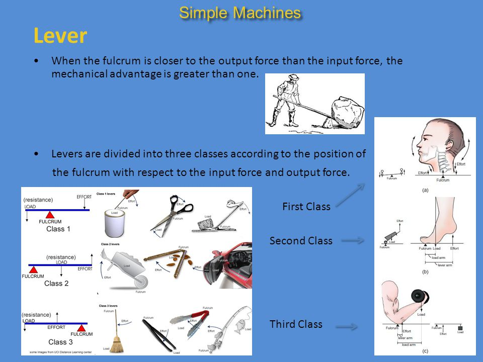 Lever When the fulcrum is closer to the output force than the input force, the mechanical advantage is greater than one. Simple Machines Levers are di
