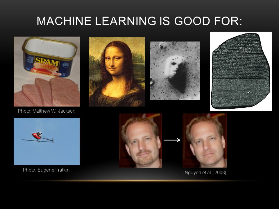 MACHINE LEARNING IS GOOD FOR: Photo: Matthew W. Jackson [Nguyen et al., 2008] Photo: Eugene Fratkin