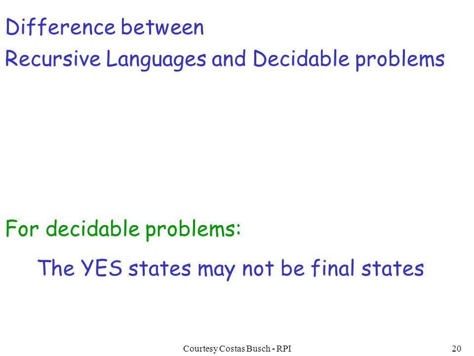 Courtesy Costas Busch - RPI20 Difference between Recursive Languages and Decidable problems The YES states may not be final states For decidable probl