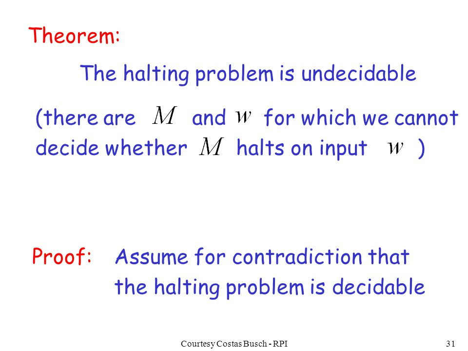Courtesy Costas Busch - RPI31 Theorem: The halting problem is undecidable Proof:Assume for contradiction that the halting problem is decidable (there