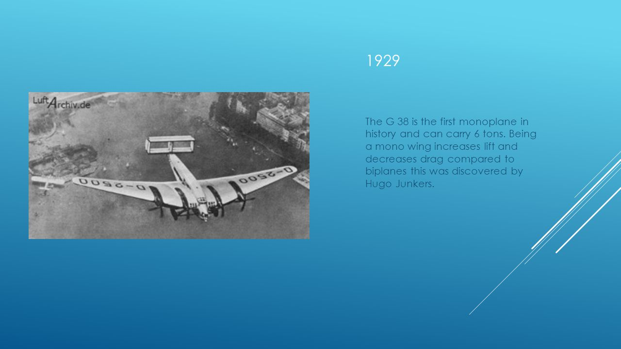 1929 The G 38 is the first monoplane in history and can carry 6 tons.