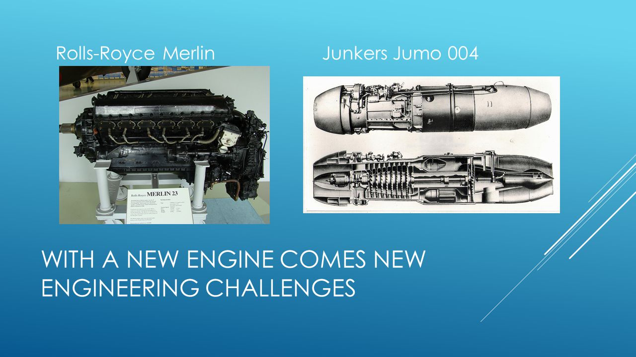 WITH A NEW ENGINE COMES NEW ENGINEERING CHALLENGES Rolls-Royce MerlinJunkers Jumo 004
