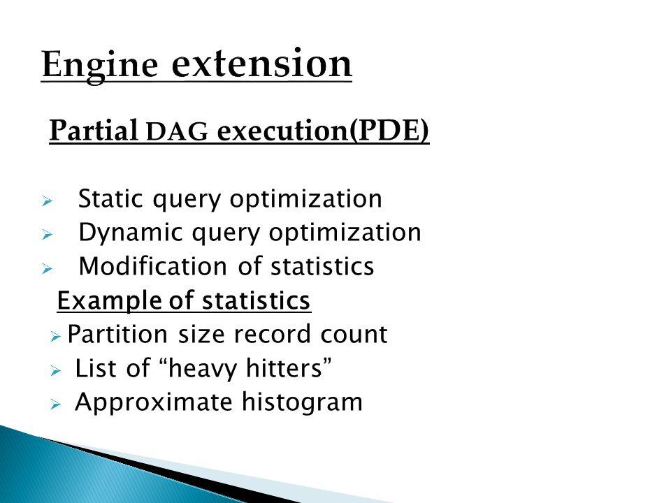Partial DAG execution(PDE) Static query optimization Dynamic query optimization Modification of statistics Example of statistics Partition size record