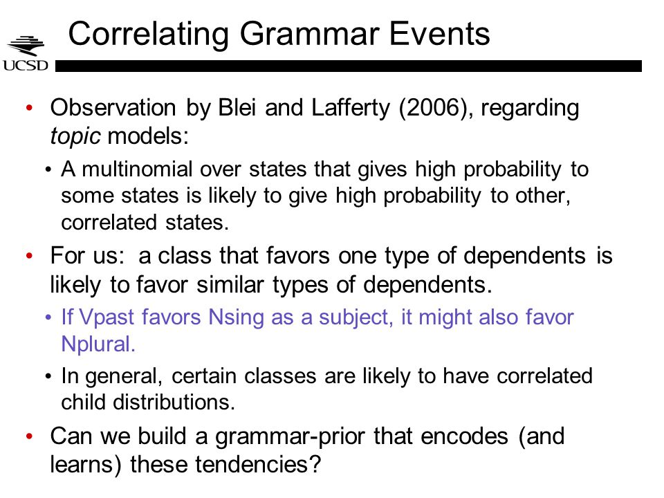 Correlating Grammar Events Observation by Blei and Lafferty (2006), regarding topic models: A multinomial over states that gives high probability to s