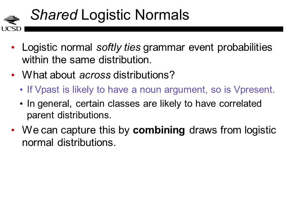 Shared Logistic Normals Logistic normal softly ties grammar event probabilities within the same distribution. What about across distributions? If Vpas