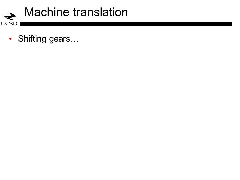 Machine translation Shifting gears…