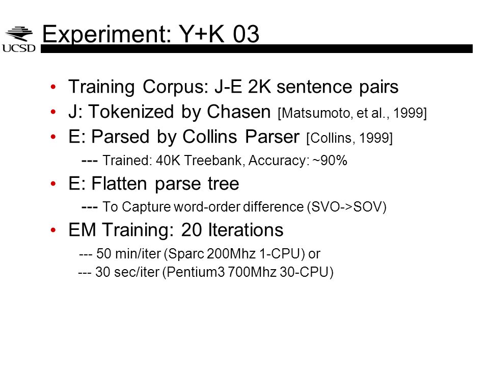 Experiment: Y+K 03 Training Corpus: J-E 2K sentence pairs J: Tokenized by Chasen [Matsumoto, et al., 1999] E: Parsed by Collins Parser [Collins, 1999]