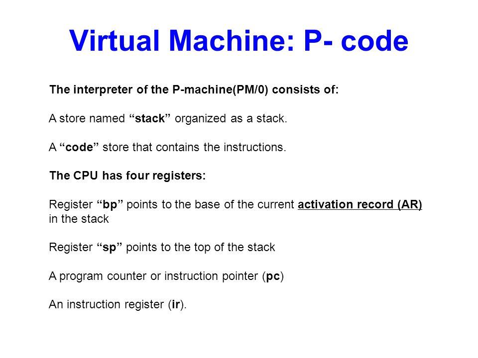 Eurípides MontagneUniversity of Central Florida7 Virtual Machine: P- code CODE STACK CPU BP SP PC AR or Frame IR