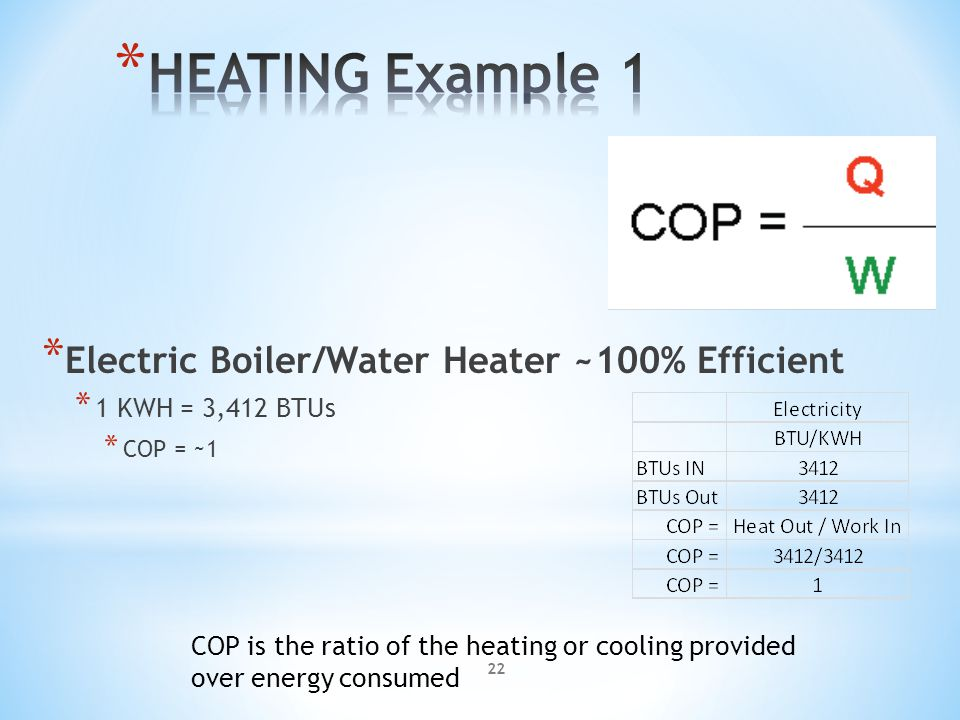 COP is the ratio of the heating or cooling provided over energy consumed * Electric Boiler/Water Heater ~100% Efficient * 1 KWH = 3,412 BTUs * COP = ~1 22