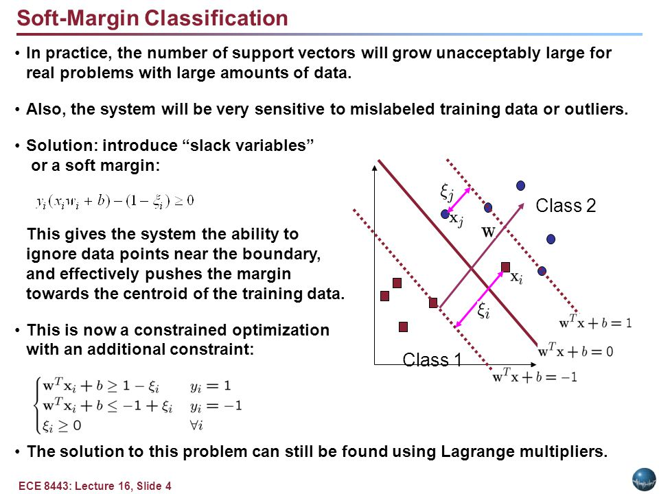 ECE 8443: Lecture 16, Slide 4 Class 1 Class 2 Soft-Margin Classification In practice, the number of support vectors will grow unacceptably large for real problems with large amounts of data.