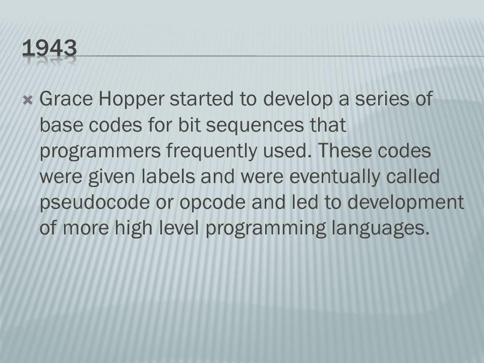 Grace Hopper started to develop a series of base codes for bit sequences that programmers frequently used.