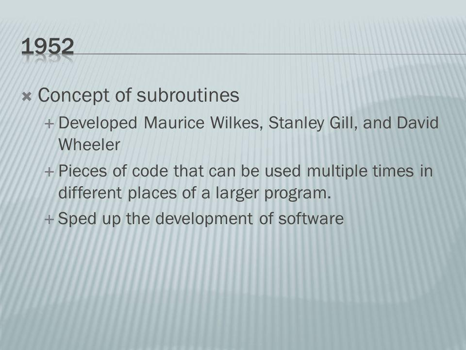 Concept of subroutines Developed Maurice Wilkes, Stanley Gill, and David Wheeler Pieces of code that can be used multiple times in different places of a larger program.