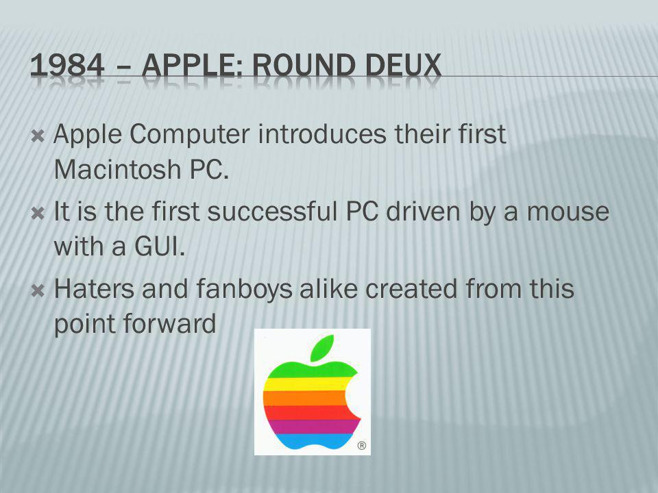 Apple Computer introduces their first Macintosh PC.