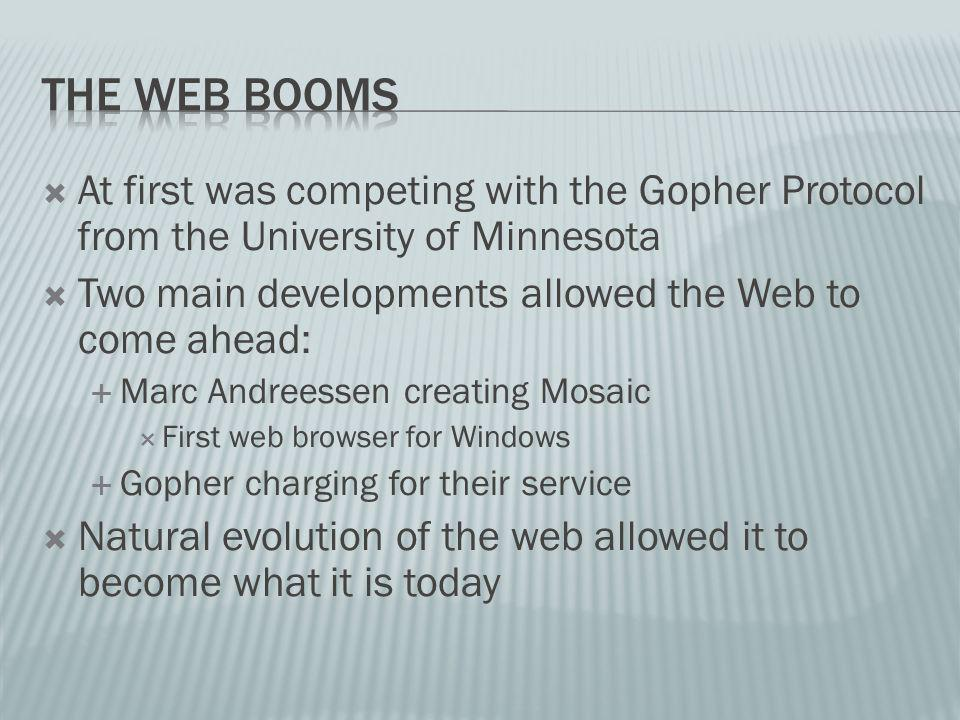 At first was competing with the Gopher Protocol from the University of Minnesota Two main developments allowed the Web to come ahead: Marc Andreessen creating Mosaic First web browser for Windows Gopher charging for their service Natural evolution of the web allowed it to become what it is today