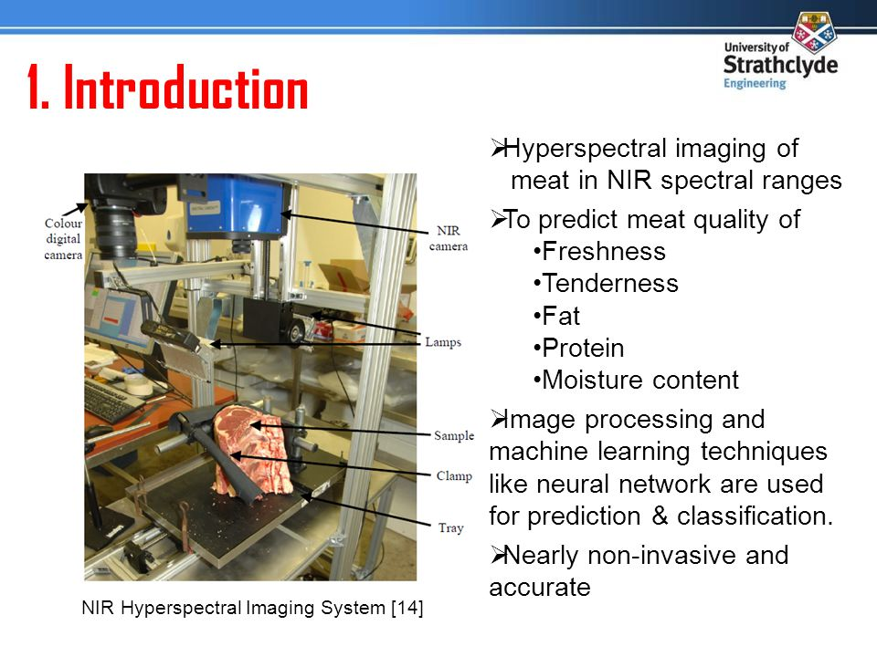 1. Introduction NIR Hyperspectral Imaging System [14] Hyperspectral imaging of meat in NIR spectral ranges To predict meat quality of Freshness Tender