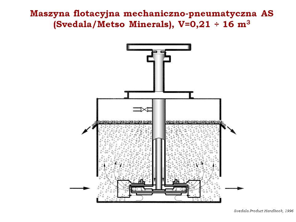 Maszyna flotacyjna mechaniczno-pneumatyczna AS (Svedala/Metso Minerals), V=0,21 ÷ 16 m 3 Svedala Product Handbook, 1996