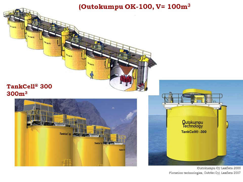 Outokumpu Oy Leaflets 2000 (Outokumpu OK-100, V= 100m 3 TankCell 300 300m 3 Flotation technologies, Outotec Oyj. Leaflets 2007
