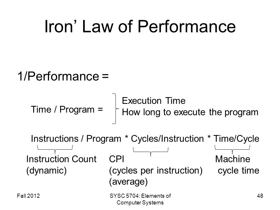 Iron Law of Performance 1/Performance = Time / Program = Instructions / Program * Cycles/Instruction * Time/Cycle Fall 2012SYSC 5704: Elements of Computer Systems 48 Execution Time How long to execute the program Instruction Count (dynamic) CPI (cycles per instruction) (average) Machine cycle time