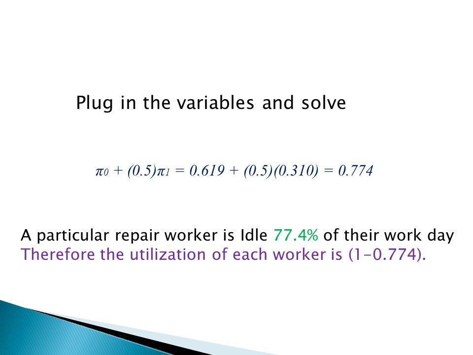 π 0 + (0.5)π 1 = 0.619 + (0.5)(0.310) = 0.774 Plug in the variables and solve A particular repair worker is Idle 77.4% of their work day Therefore the