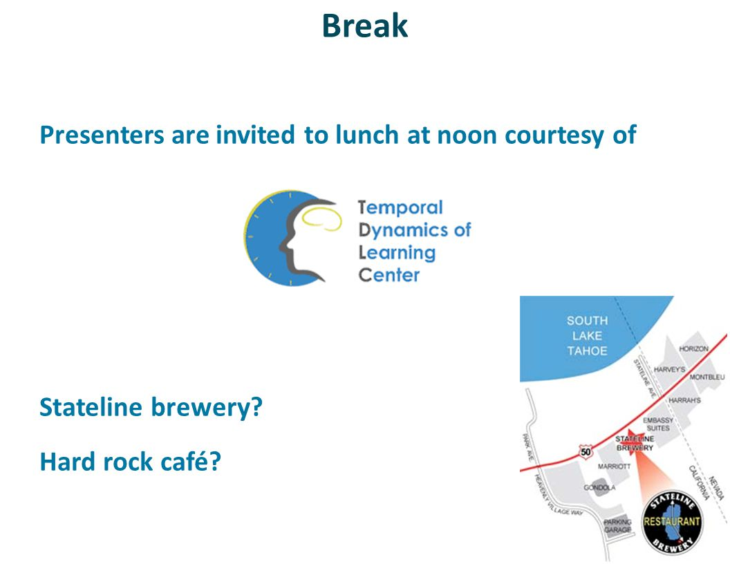 Break Presenters are invited to lunch at noon courtesy of Stateline brewery? Hard rock café?