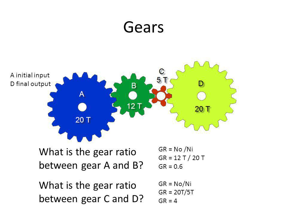 Gears What is the gear ratio between gear A and B.