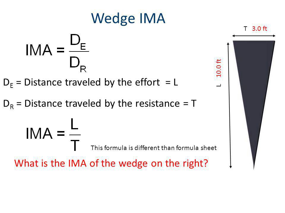 Wedge IMA D E = Distance traveled by the effort = L D R = Distance traveled by the resistance = T T 3.0 ft L 10.0 ft What is the IMA of the wedge on the right.