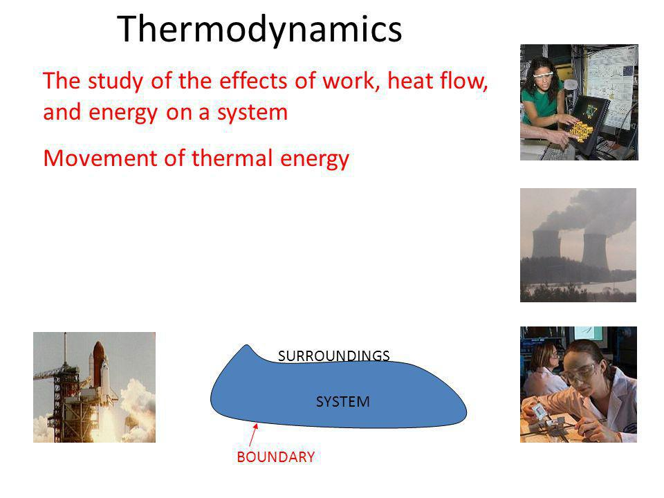 Thermodynamics The study of the effects of work, heat flow, and energy on a system Movement of thermal energy SYSTEM SURROUNDINGS BOUNDARY