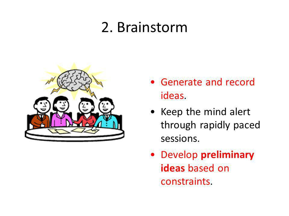 2.Brainstorm Generate and record ideas. Keep the mind alert through rapidly paced sessions.
