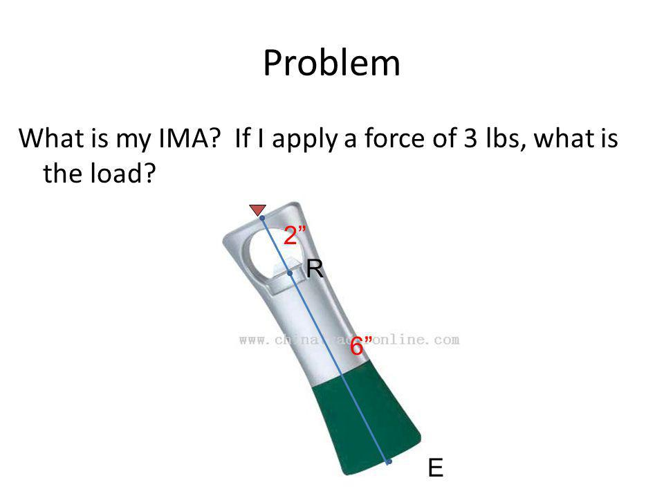 Problem What is my IMA? If I apply a force of 3 lbs, what is the load? E R 6 2