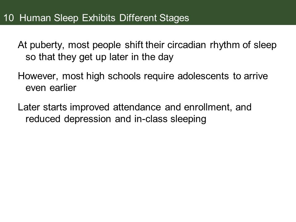 10 Human Sleep Exhibits Different Stages At puberty, most people shift their circadian rhythm of sleep so that they get up later in the day However, most high schools require adolescents to arrive even earlier Later starts improved attendance and enrollment, and reduced depression and in-class sleeping