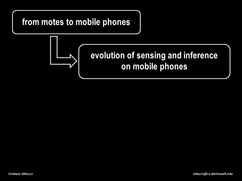 miluzzo@cs.dartmouth.eduEmiliano Miluzzo evolution of sensing and inference on mobile phones from motes to mobile phones