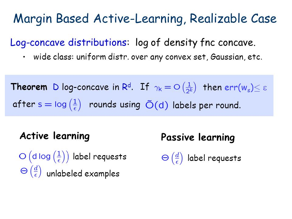 Log-concave distributions: log of density fnc concave. wide class: uniform distr. over any convex set, Gaussian, etc. TheoremIf then err(w s ) · D log