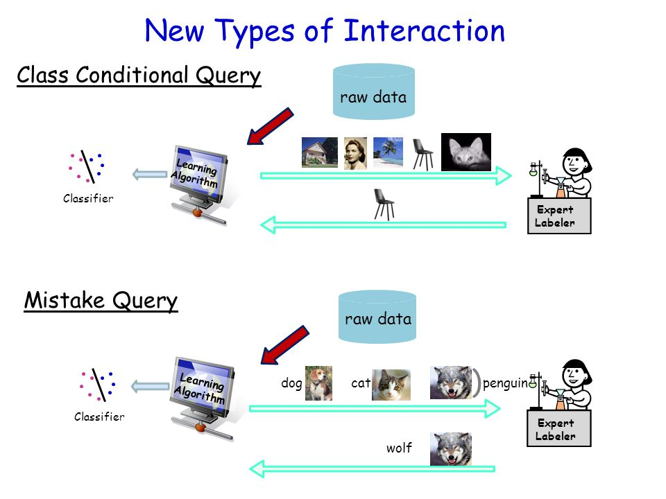 Learning Algorithm raw data Expert Labeler Classifier New Types of Interaction Class Conditional Query Mistake Query Learning Algorithm raw data Exper