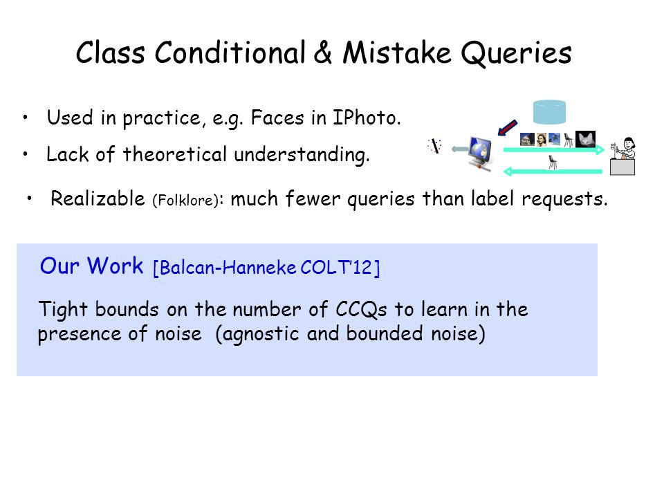 Class Conditional & Mistake Queries Used in practice, e.g. Faces in IPhoto. Lack of theoretical understanding. Realizable (Folklore) : much fewer quer